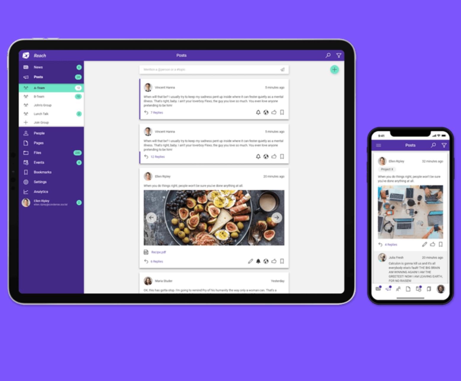 livetiles reach employee engagement application