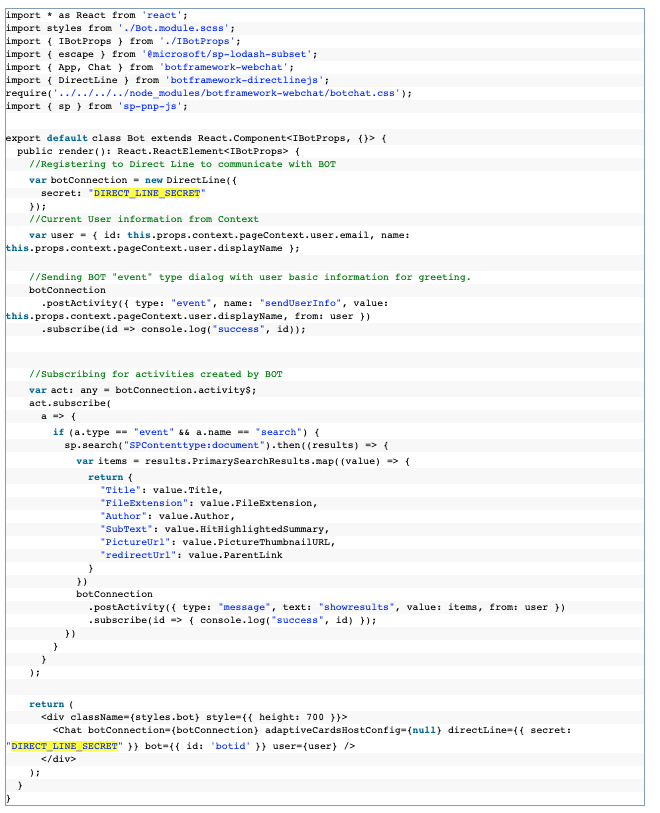 SharePoint BOT component code